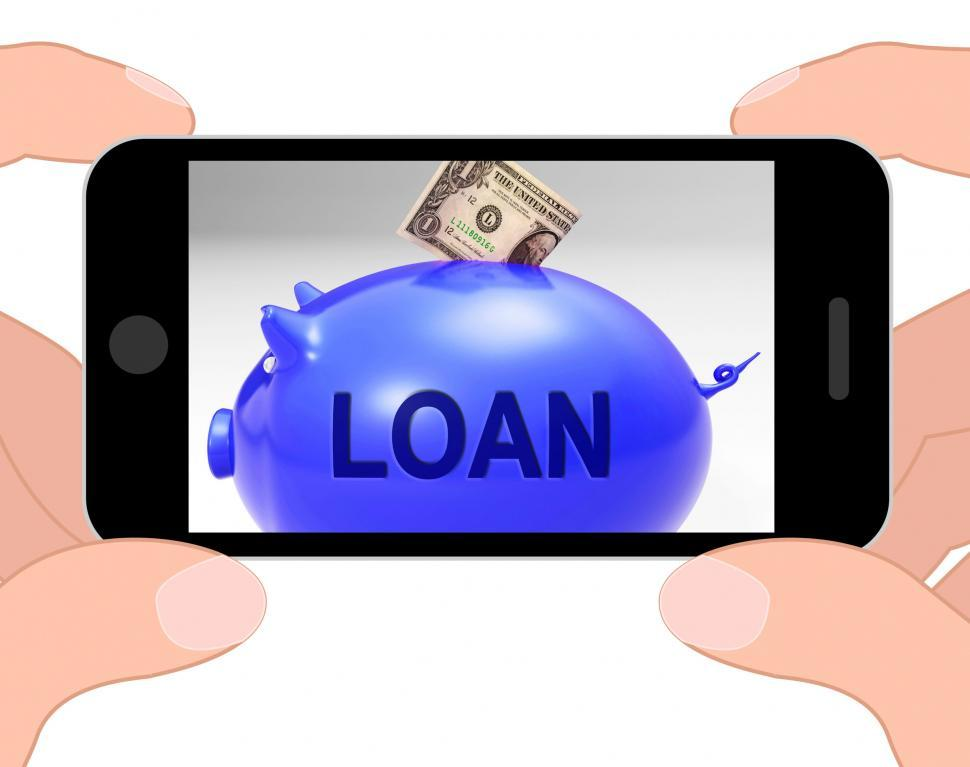 Download Free Stock HD Photo of Loan Piggy Bank Displays Money Loaned And Financing Online