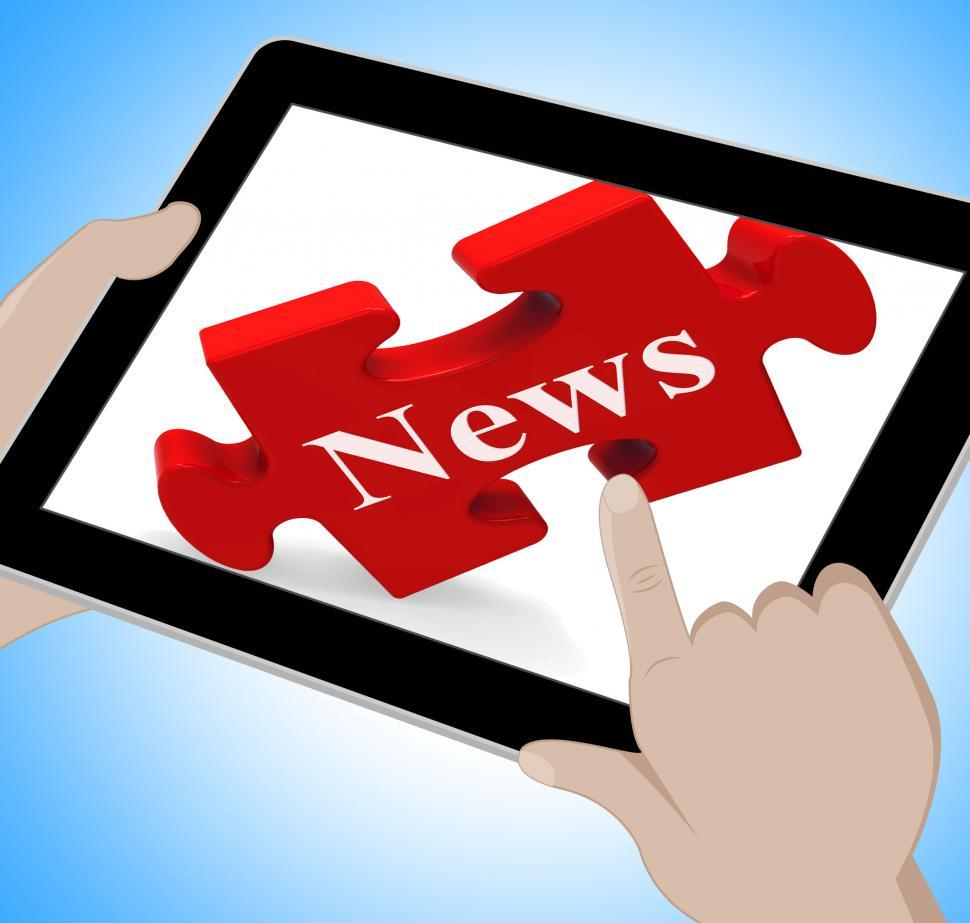Download Free Stock HD Photo of News Tablet Means Web Headlines Or Bulletin Online