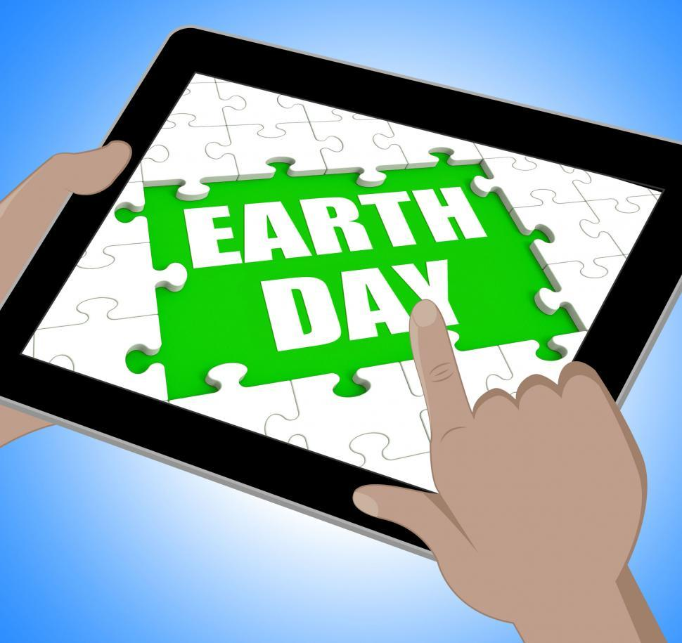 Download Free Stock HD Photo of Earth Day Tablet Shows Conservation And Environmental Protection Online