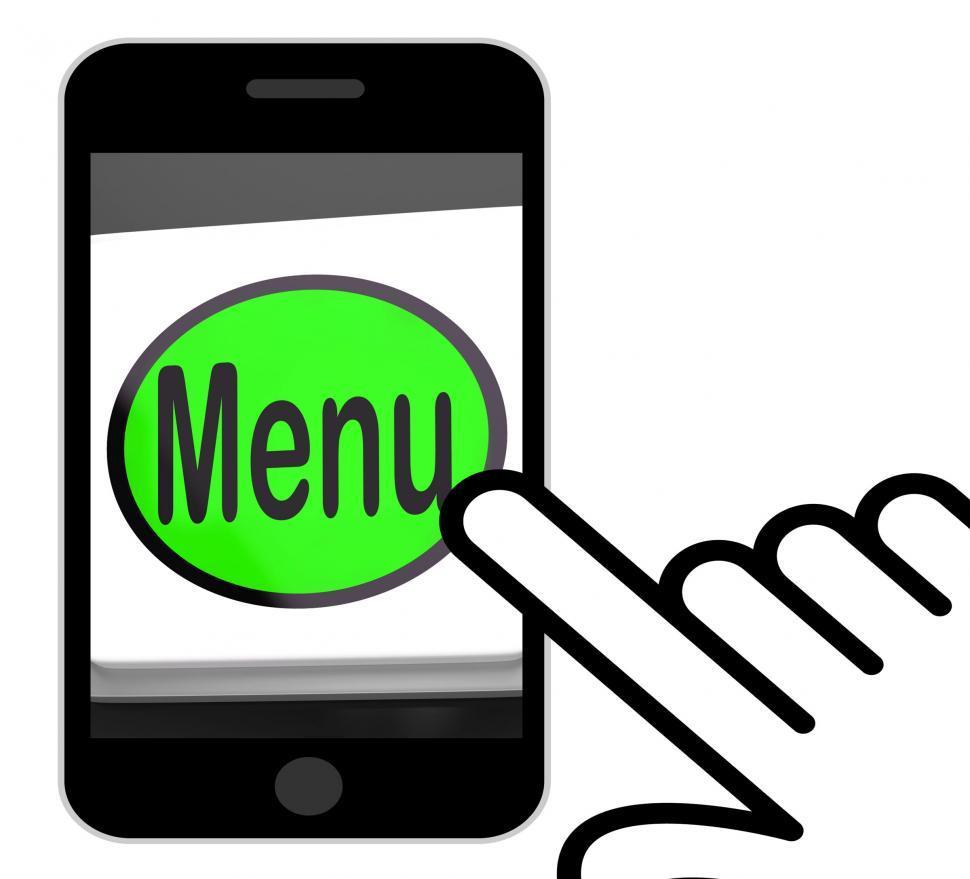 Download Free Stock HD Photo of Menu Button Displays Ordering Food Menus Online Online