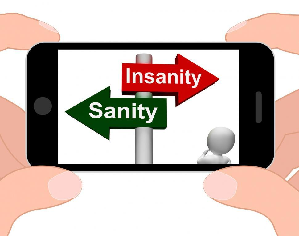 Download Free Stock HD Photo of Insanity Sanity Signpost Displays Sane Or Insane Online
