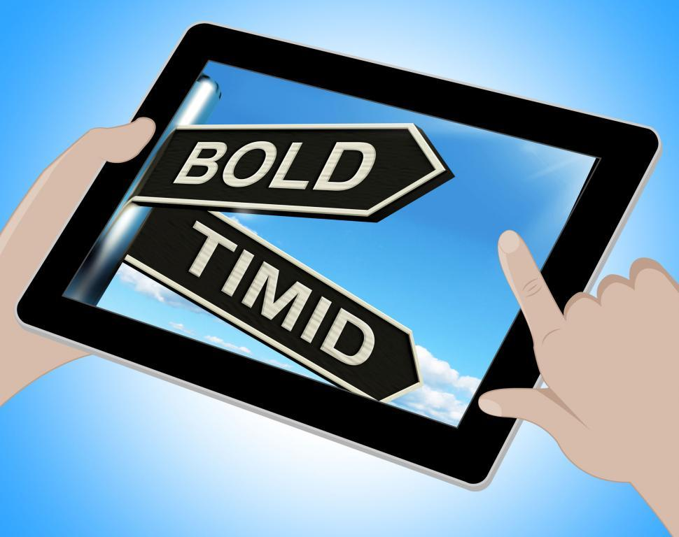 Download Free Stock HD Photo of Bold Timid Tablet Shows Extroverted And Shy Online