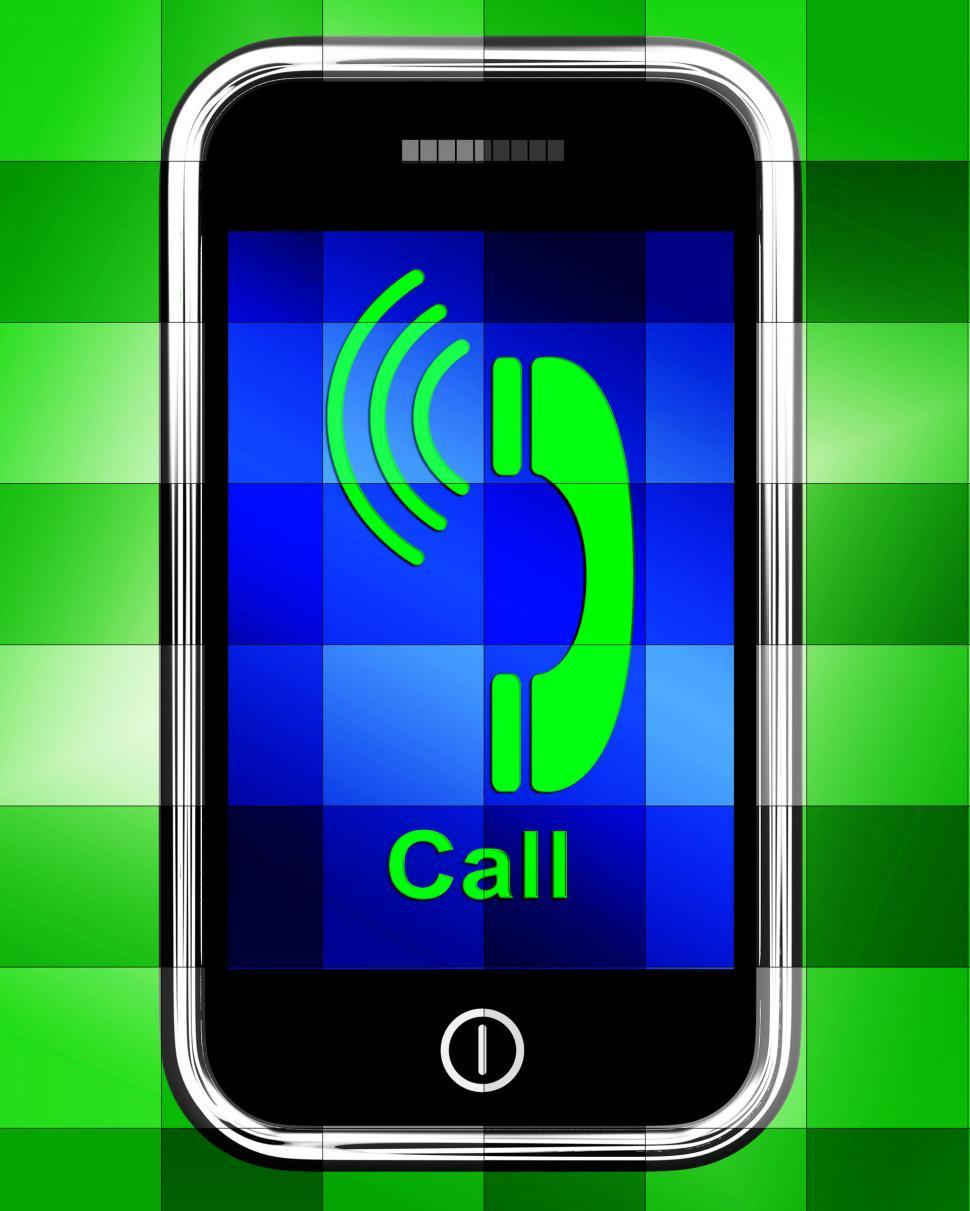 Download Free Stock HD Photo of Call  On Phone Displays Talk or Chat Online