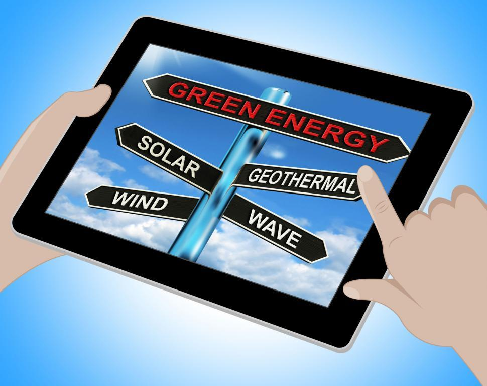 Download Free Stock HD Photo of Green Energy Tablet Means Solar Wind Geothermal And Wave Online