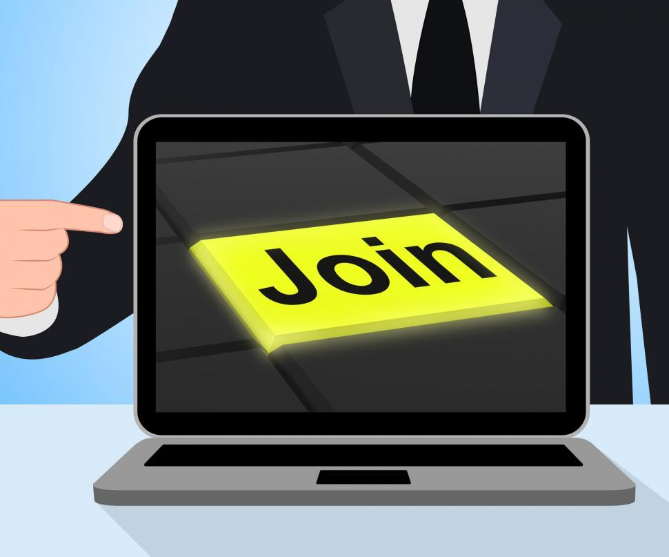 Download Free Stock HD Photo of Join Button Displays Subscribing Membership Or Registration Online