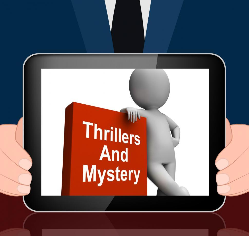 Download Free Stock HD Photo of Thrillers And Mystery Book With Character Displays Genre Fiction Online