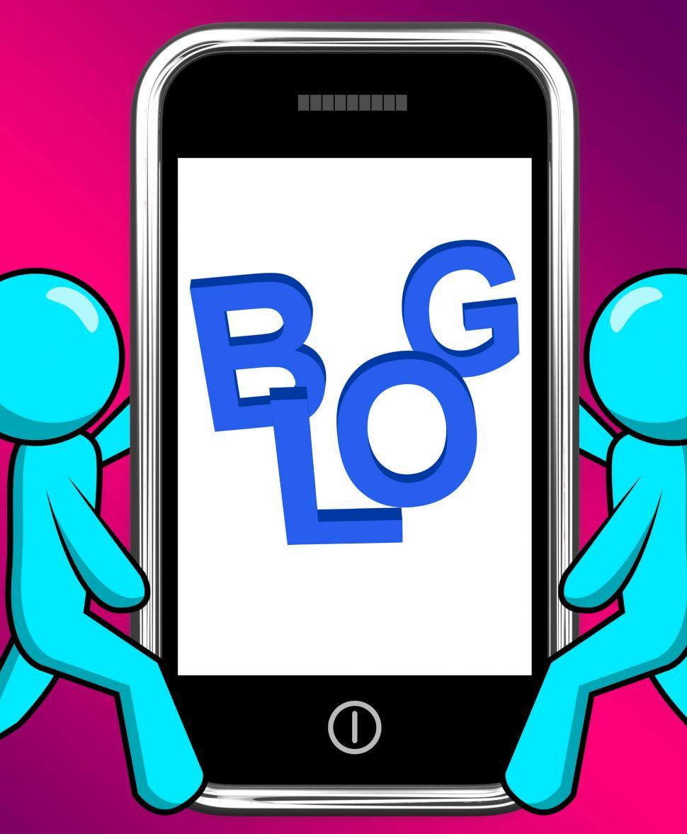 Download Free Stock HD Photo of Blog On Phone Displays Blogging Or Weblog Websites Online