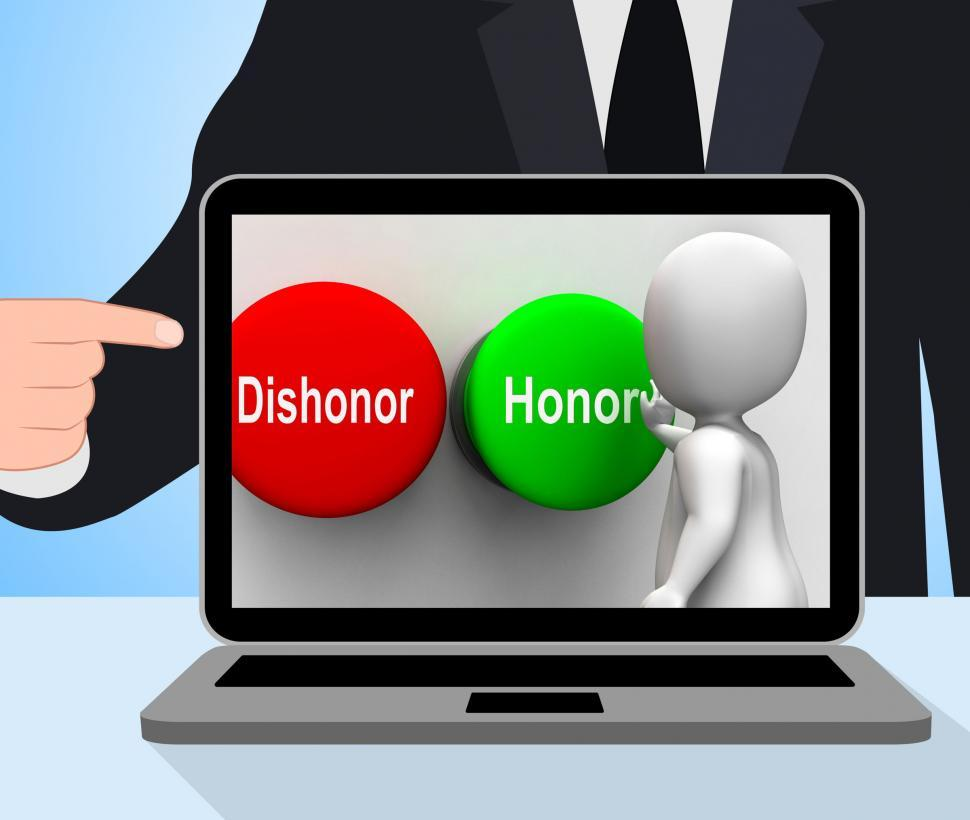 Download Free Stock HD Photo of Dishonor Honor Buttons Displays Integrity And Morals Online