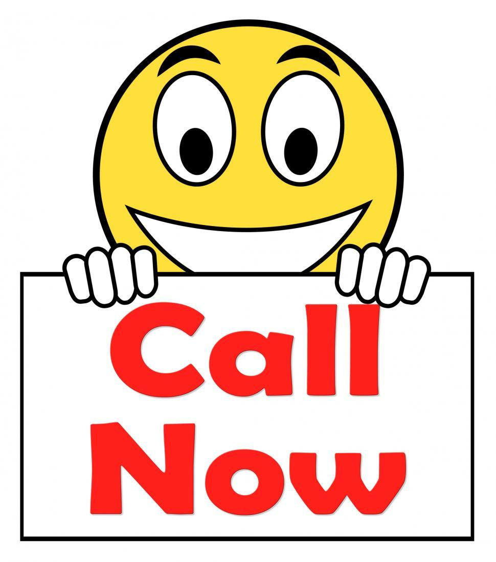 Download Free Stock HD Photo of Call Now On Sign Shows Talk or Chat Online