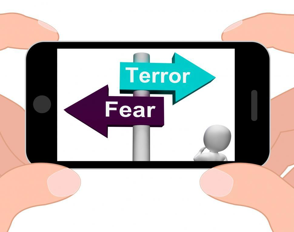 Download Free Stock HD Photo of Terror Fear Signpost Displays Anxious Panic And Fears Online