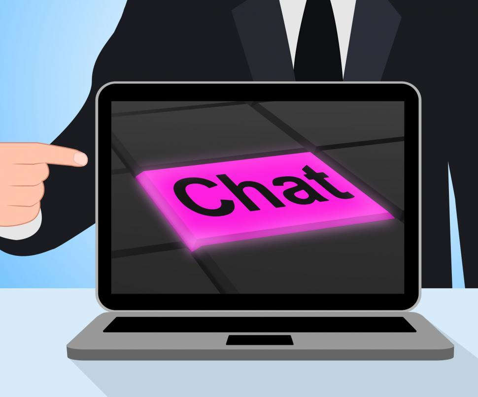 Download Free Stock HD Photo of Chat Button Displays Talking Typing Or Texting Online