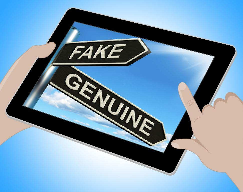 Download Free Stock HD Photo of Fake Genuine Tablet Shows Imitation Or Authentic Product Online