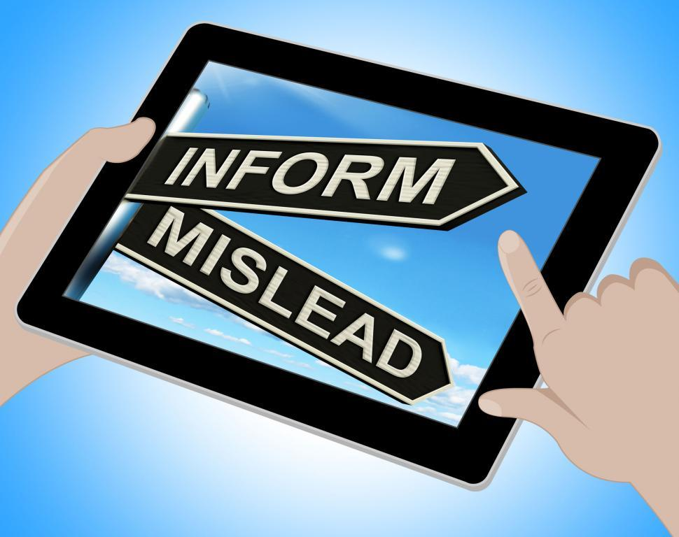 Download Free Stock HD Photo of Inform Mislead Tablet Means Advise Or Misinform Online