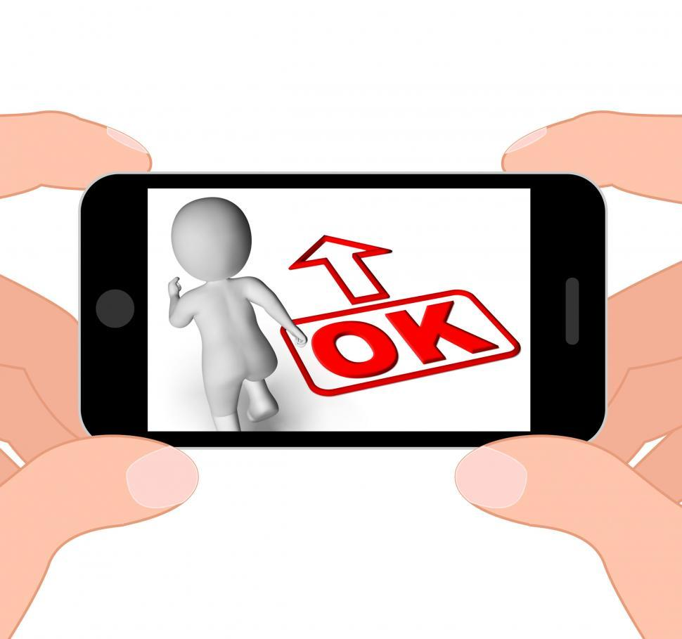 Download Free Stock HD Photo of Okay And 3D Character Displays O.K. Ok All Right Agree Online