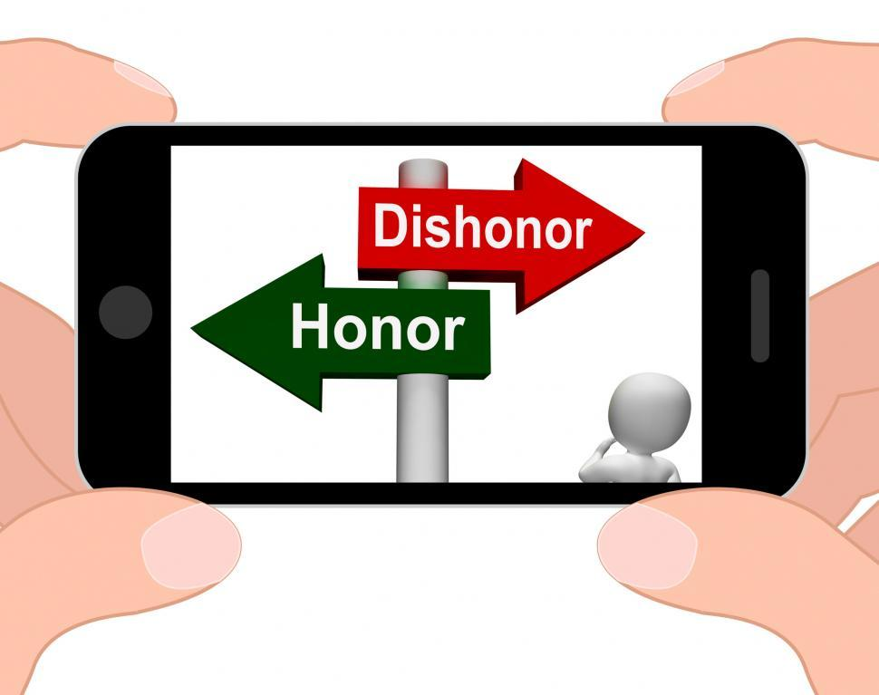 Download Free Stock HD Photo of Dishonor Honor Signpost Displays Integrity And Morals Online
