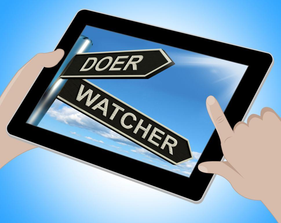 Download Free Stock HD Photo of Doer Watcher Tablet Means Active Or Observer Online