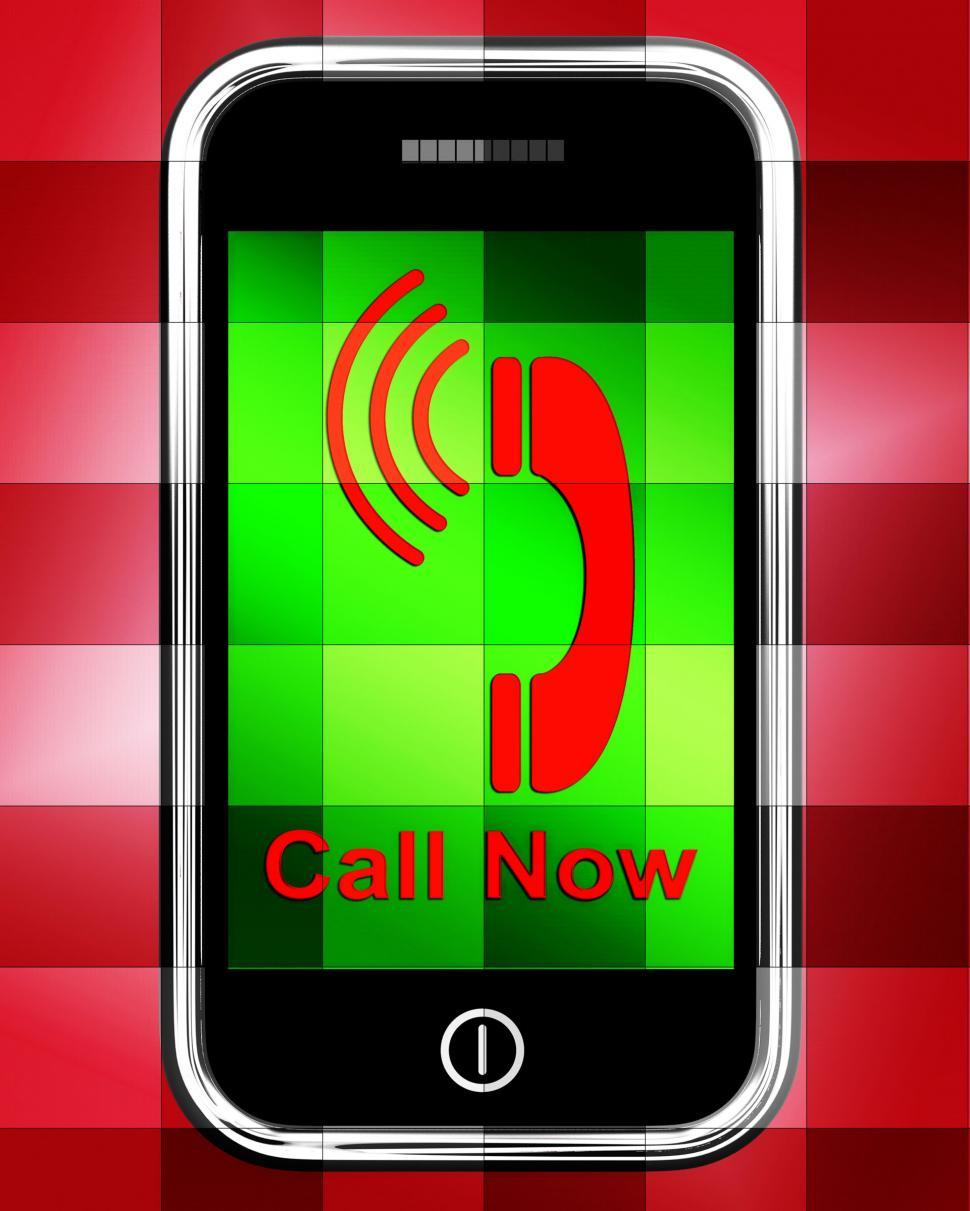 Download Free Stock HD Photo of Call Now On Phone Displays Talk or Chat Online