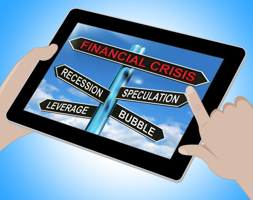 Download Free Stock HD Photo of Financial Crisis Tablet Shows Recession Speculation Leverage And Online