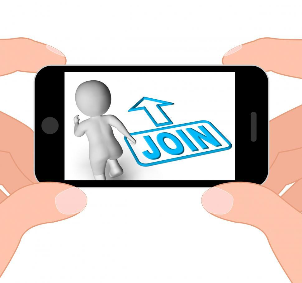 Download Free Stock HD Photo of Join And Running 3D Character Displays Joining Membership Regist Online
