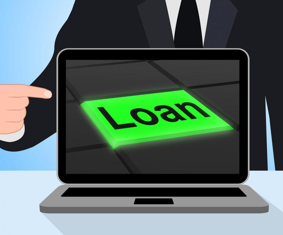 Download Free Stock HD Photo of Loan Button Displays Lending Or Providing Advance Online