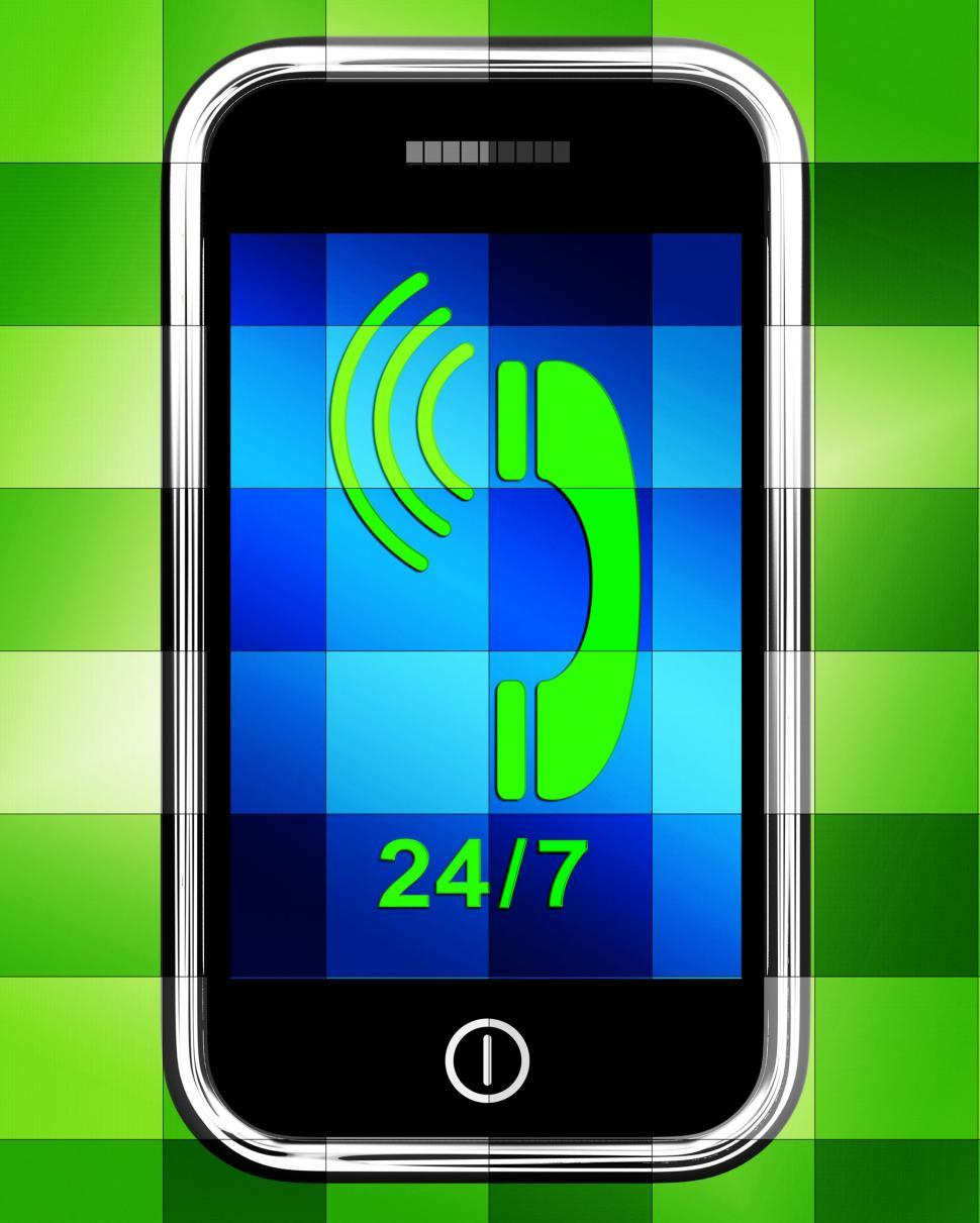 Download Free Stock HD Photo of Twenty Four Seven On Phone Displays Open 247 Online