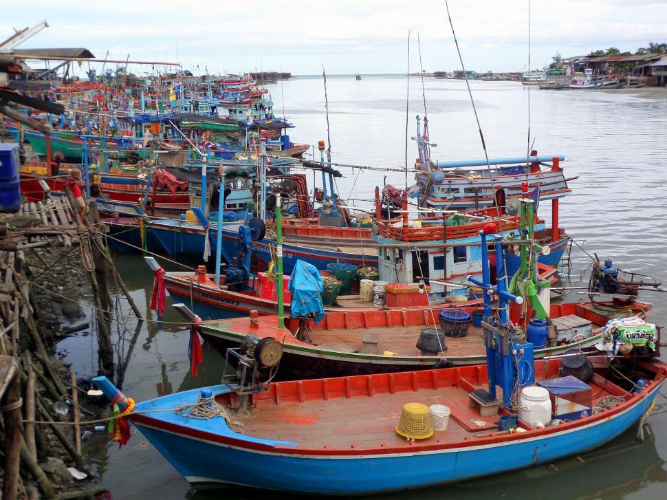Download Free Stock HD Photo of Moored Thai fishing boats Online