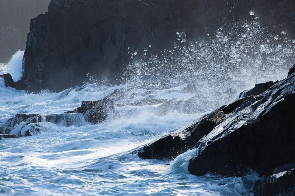 Download Free Stock HD Photo of Waves washing over rocks Online