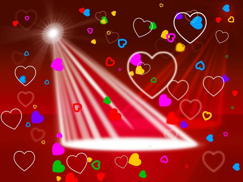 Download Free Stock HD Photo of Heart Spotlight Shows Valentines Day And Affection Online