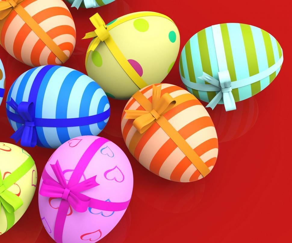Download Free Stock HD Photo of Easter Eggs Indicates Gift Bow And Colour Online