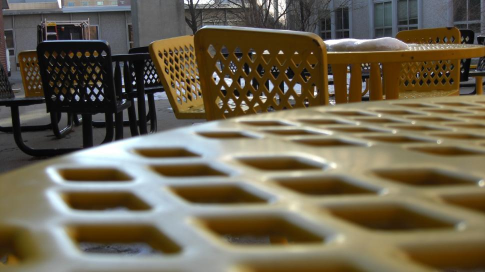 Download Free Stock HD Photo of Lonely Picnic Tables in the Winter Online