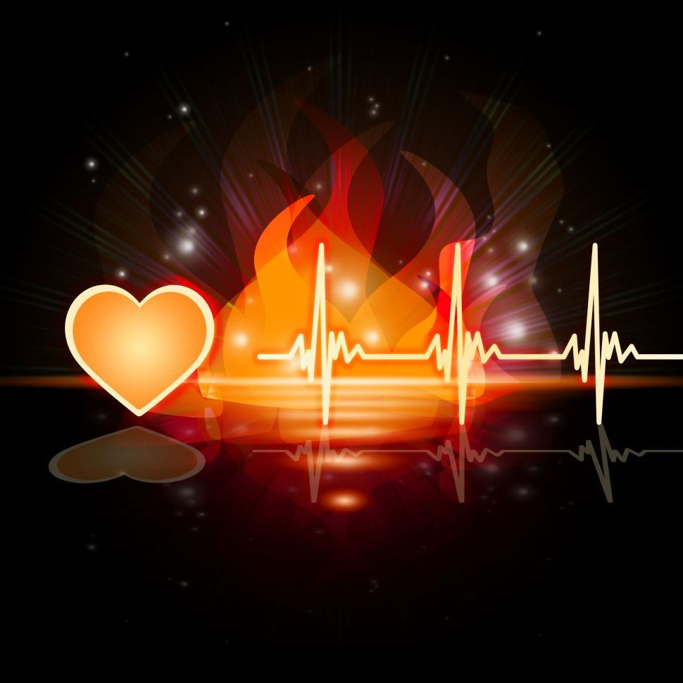 Download Free Stock HD Photo of Heartbeat Fire Means Valentine Day And Cardiac Online