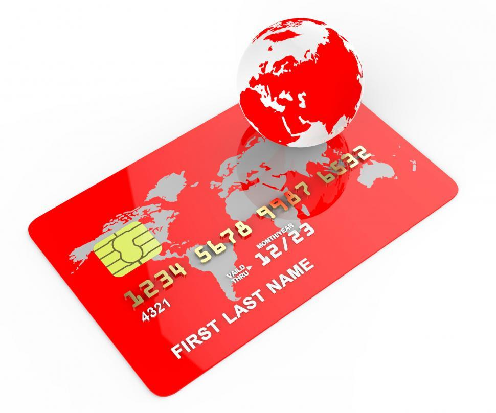 Download Free Stock HD Photo of Credit Card Means Commerce Planet And Banking Online