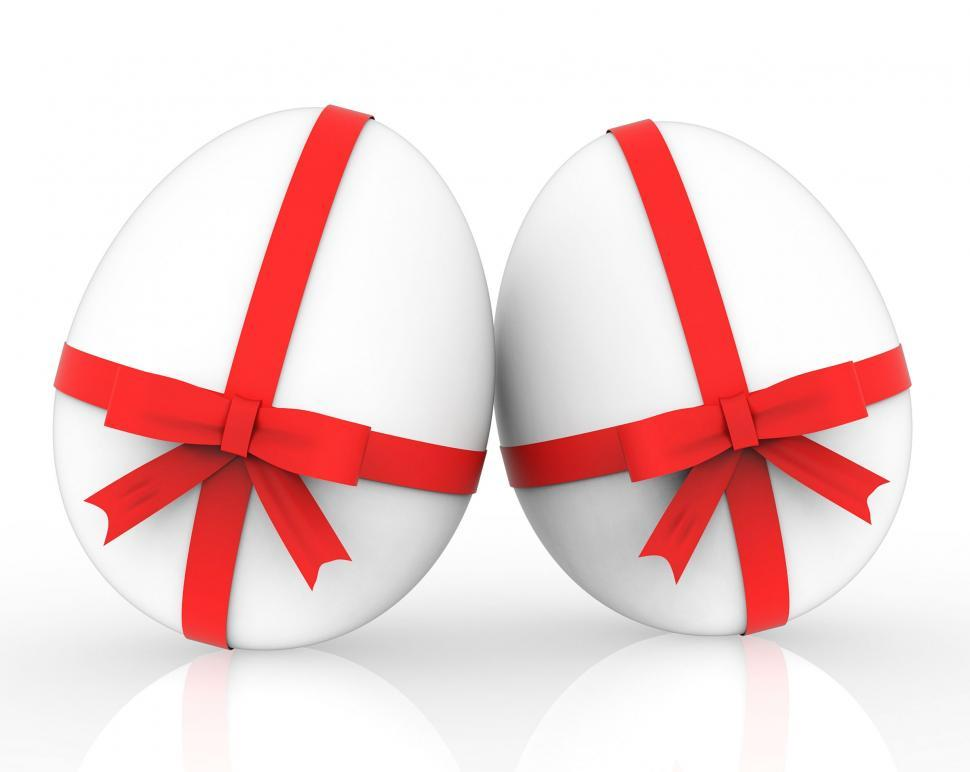 Download Free Stock HD Photo of Easter Eggs Shows Gift Ribbon And Bow Online