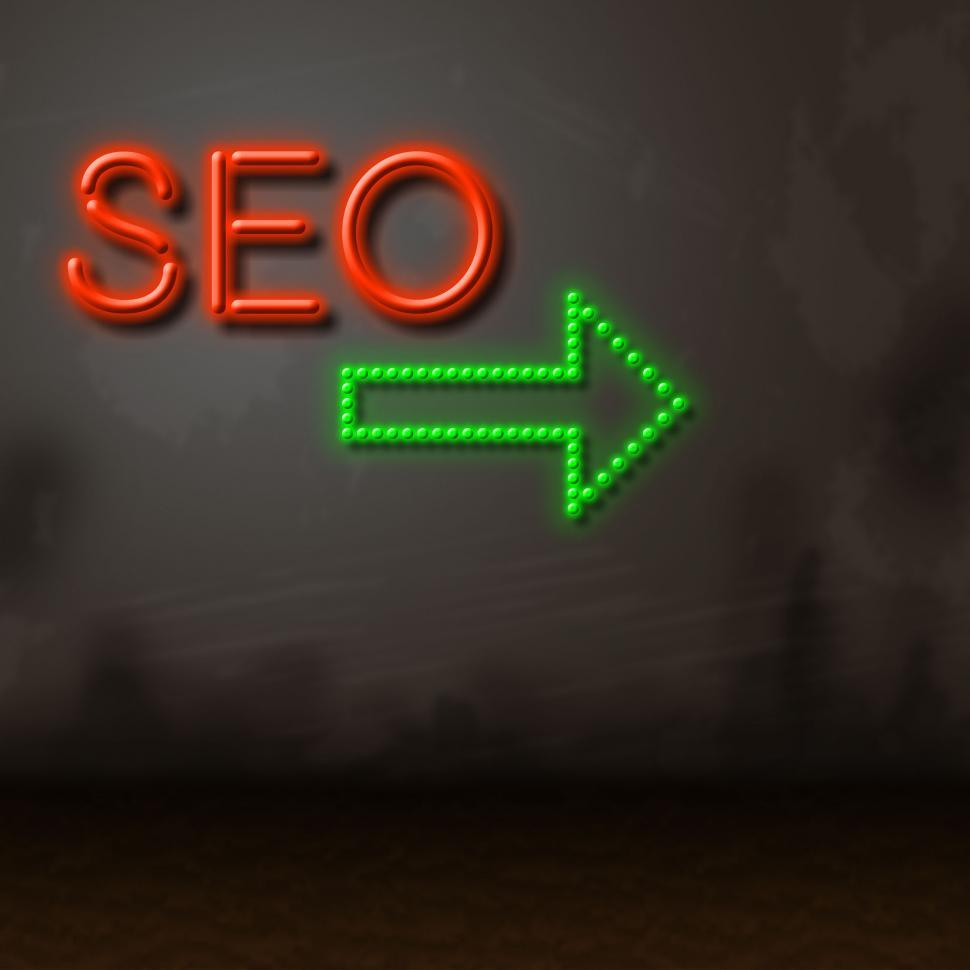 Download Free Stock HD Photo of Seo Neon Represents Glow Search And Engine Online