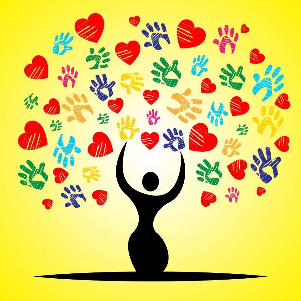 Download Free Stock HD Photo of Tree Handprints Means Valentine Day And Childhood Online