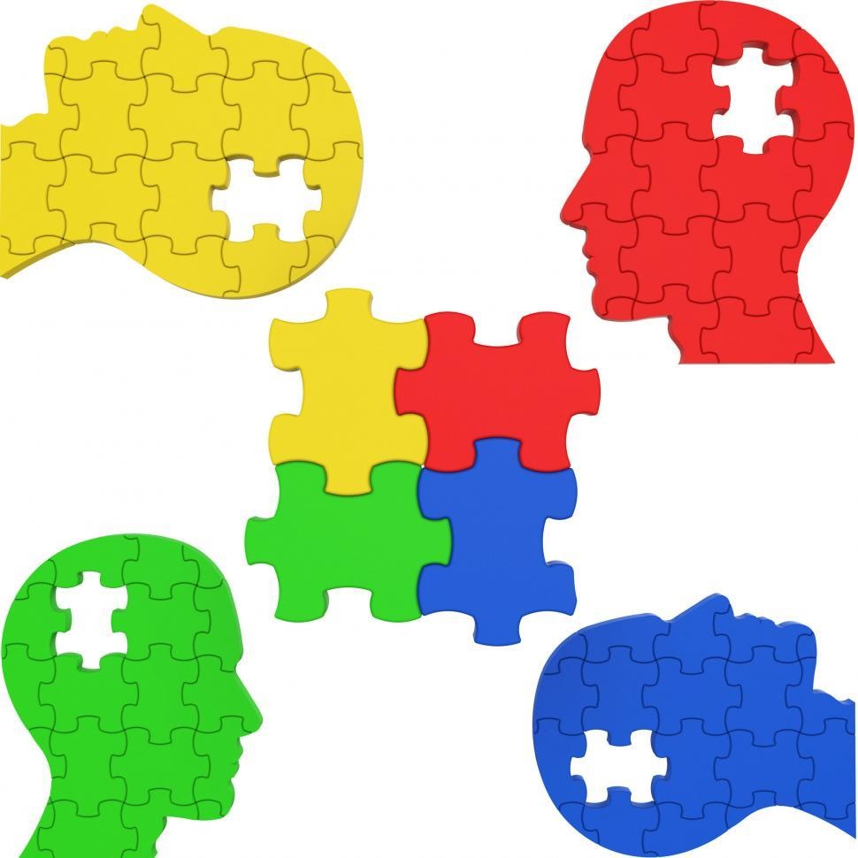 Download Free Stock HD Photo of Think Puzzle Indicates Team Work And Consideration Online