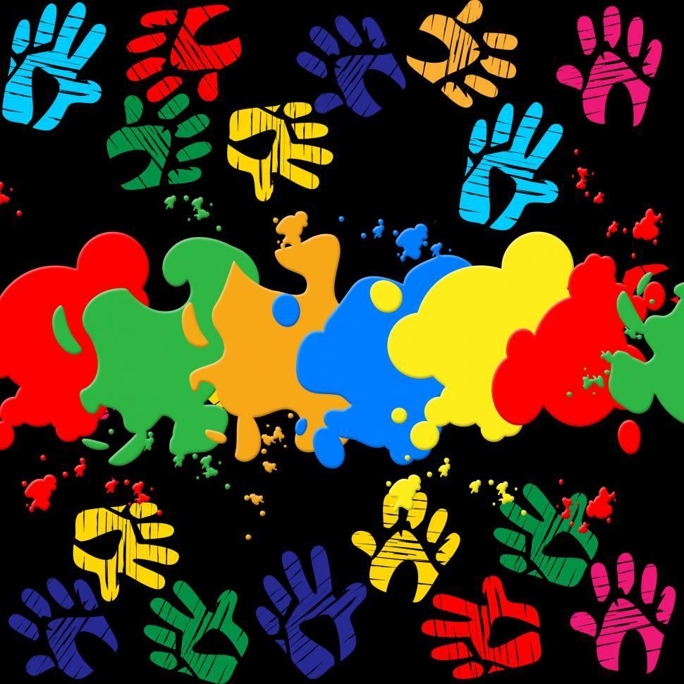 Download Free Stock HD Photo of Colourful Handprints Indicates Color Colors And Backgrounds Online