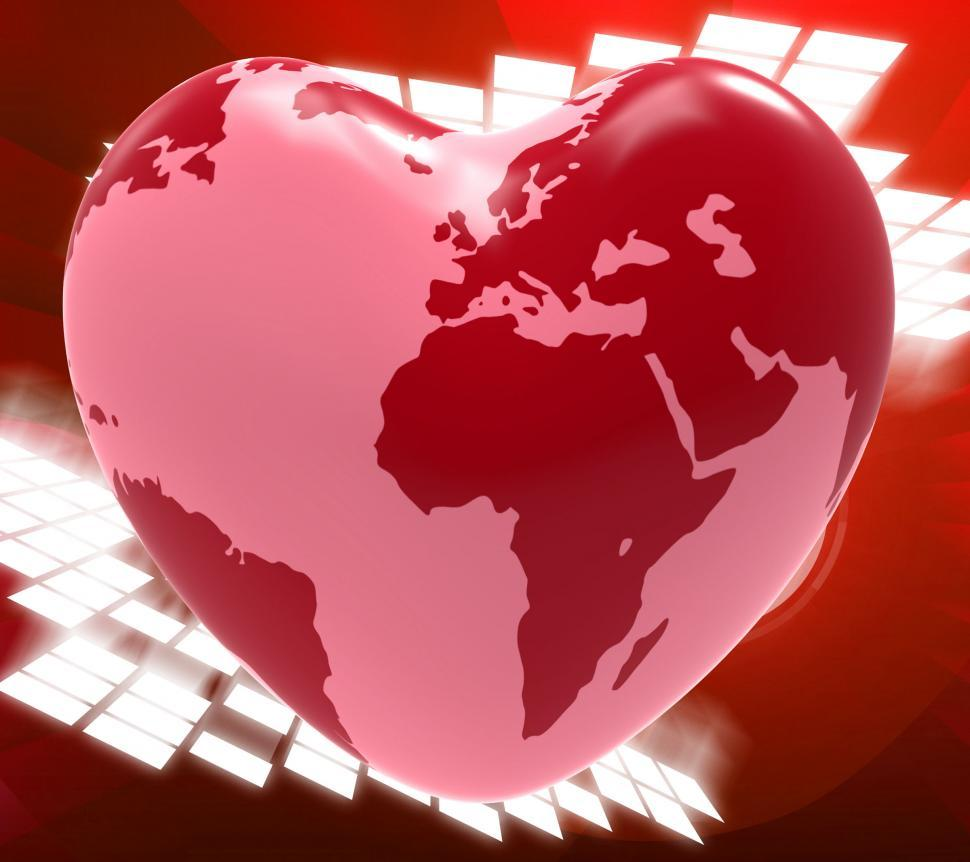 Download Free Stock HD Photo of Heart Globe Means Valentine s Day And Earth Online