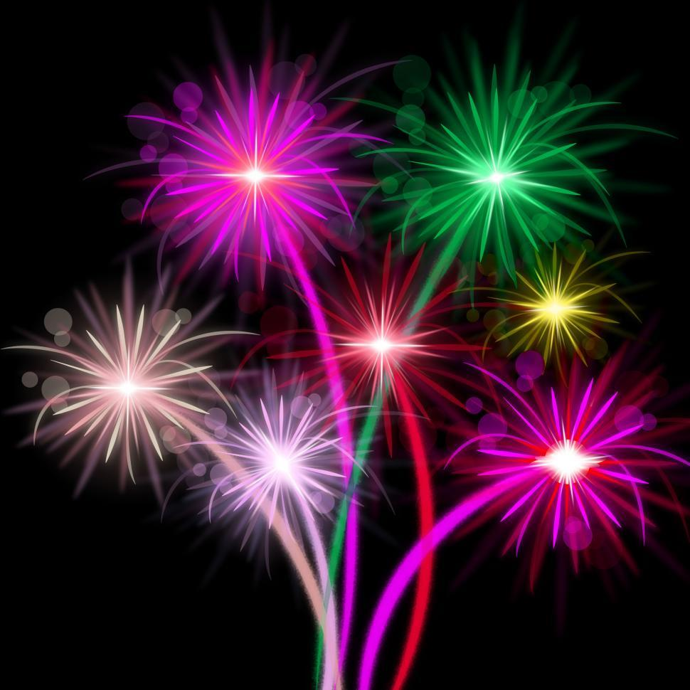 Download Free Stock HD Photo of Fireworks Color Represents Explosion Background And Celebrate Online