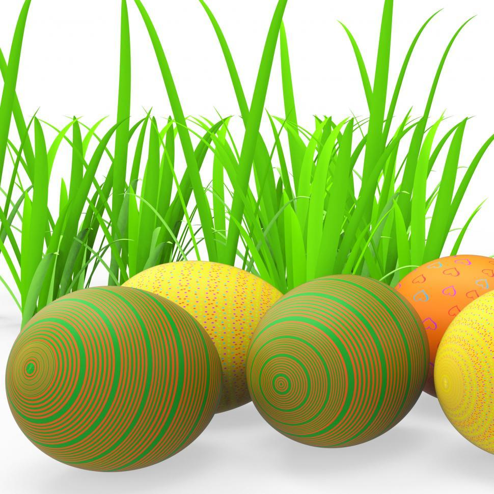 Download Free Stock HD Photo of Easter Eggs Shows Green Grass And Grassland Online