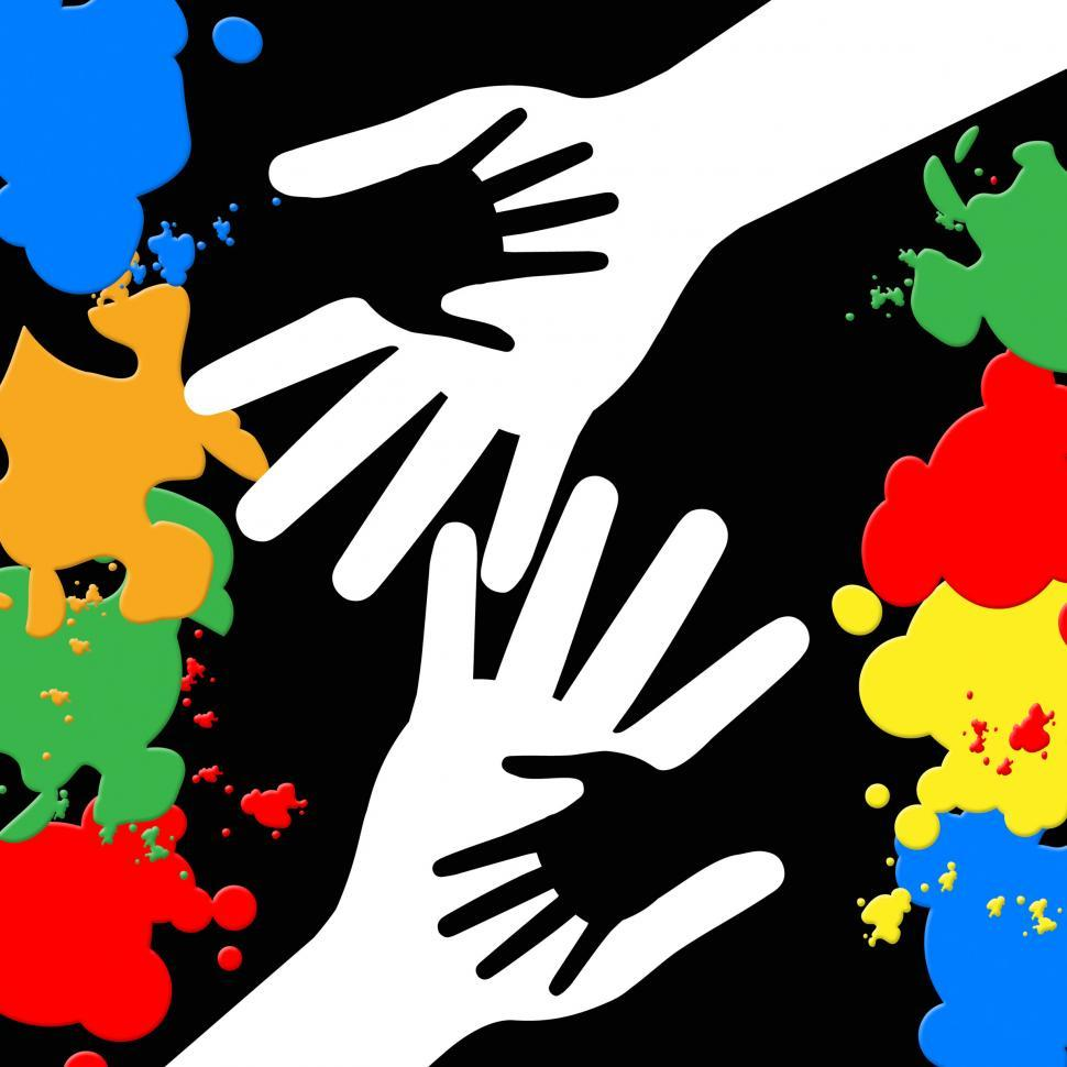 Download Free Stock HD Photo of Holding Hands Represents Paint Colors And Bonding Online