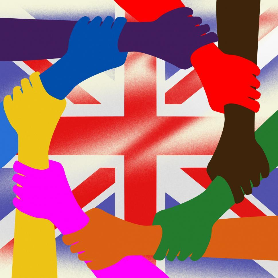Free Stock Photo of Holding Hands Represents Union Jack And