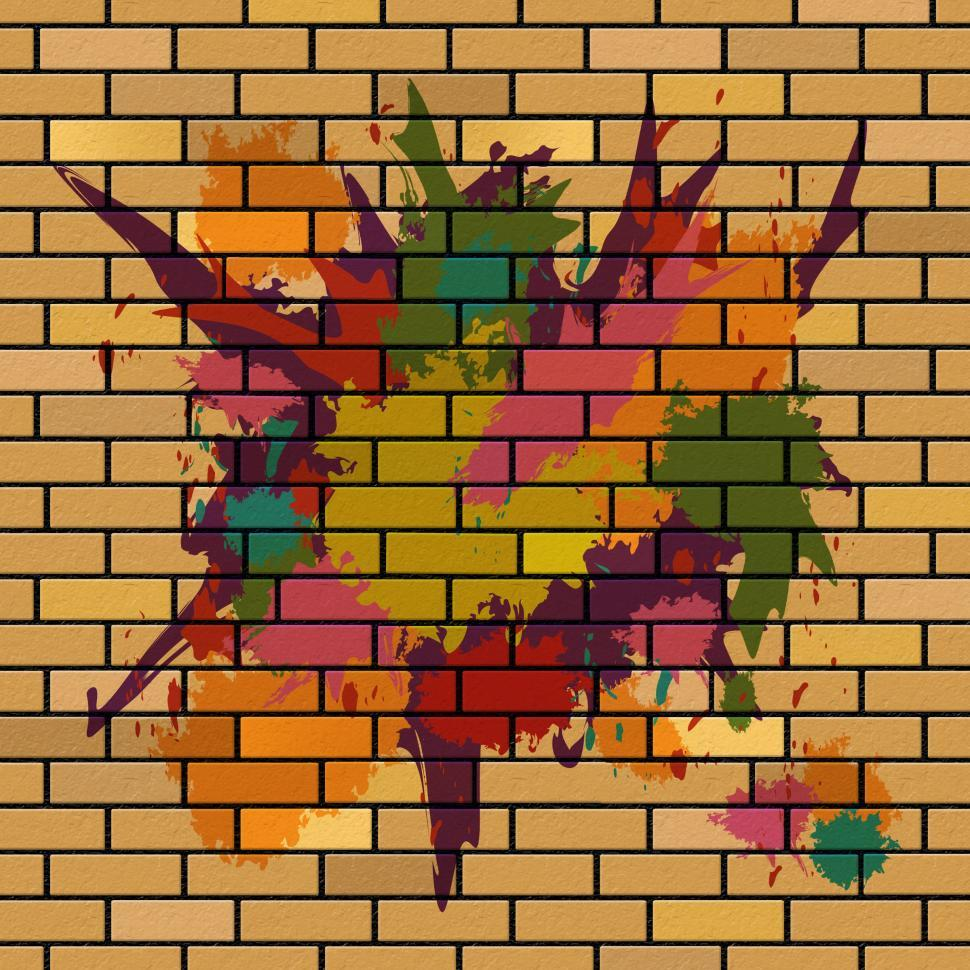 Download Free Stock HD Photo of Brick Wall Shows Brick-Wall Splattered And Splashes Online