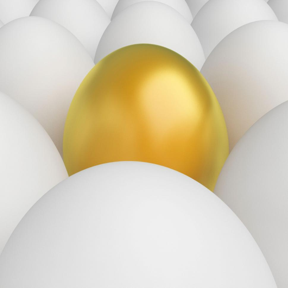 Download Free Stock HD Photo of Golden Egg Means Odd One Out And Alone Online