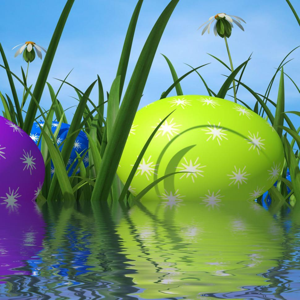 Download Free Stock HD Photo of Easter Eggs Means Green Grass And Environment Online