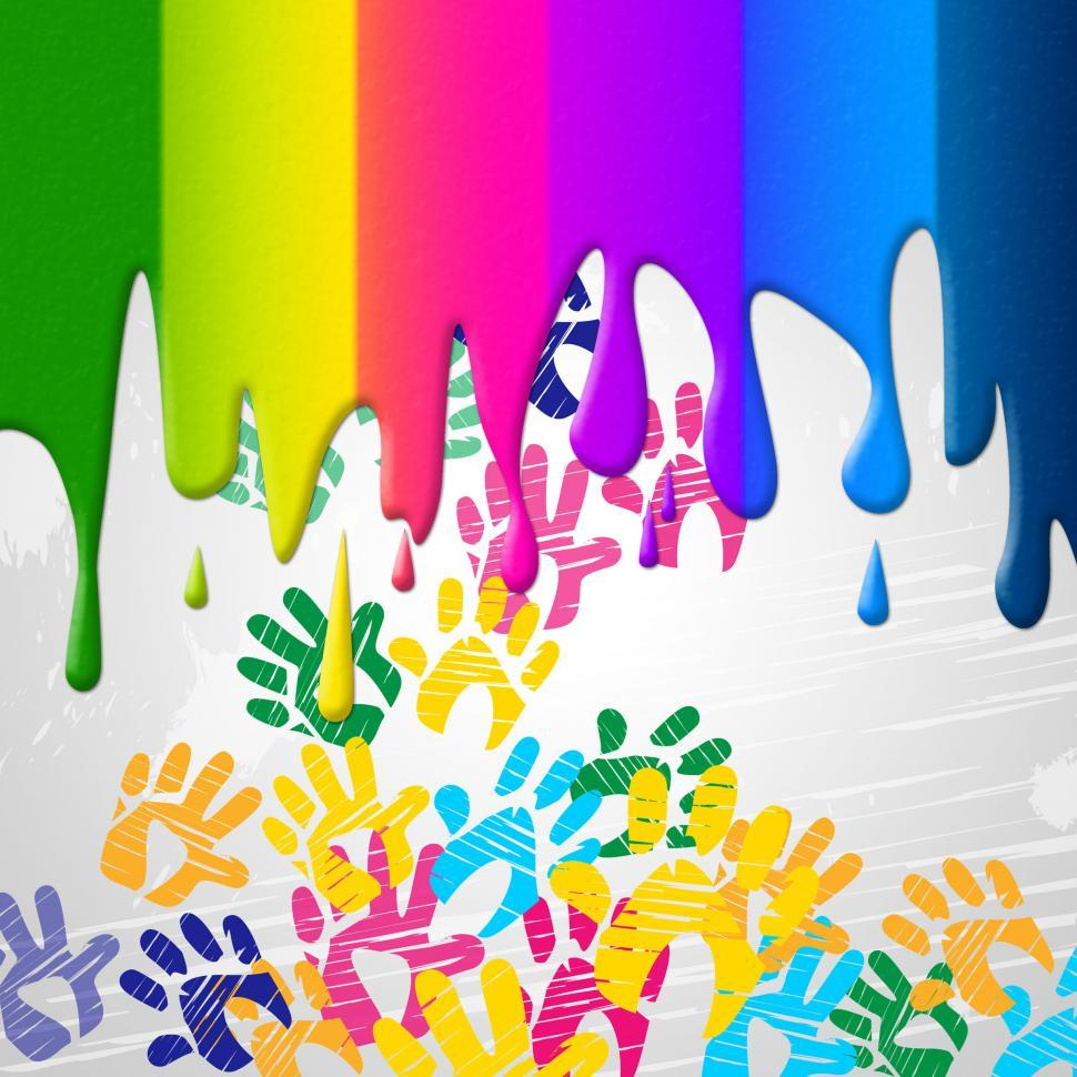 Download Free Stock HD Photo of Color Handprints Represents Childhood Multicoloured And Colors Online