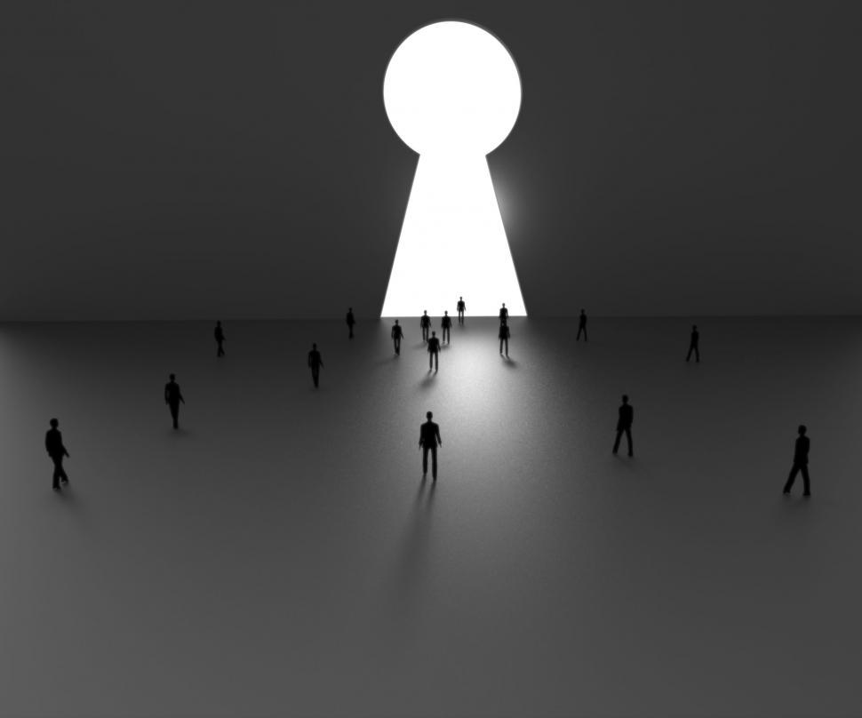 Download Free Stock HD Photo of Keyhole Vision Shows Goal Objective And Lock Online