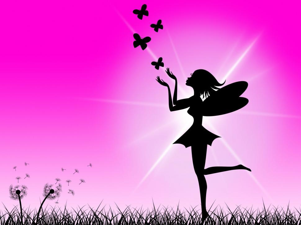 Download Free Stock HD Photo of Pink Fairy Shows Sunlight Magic And Girl Online