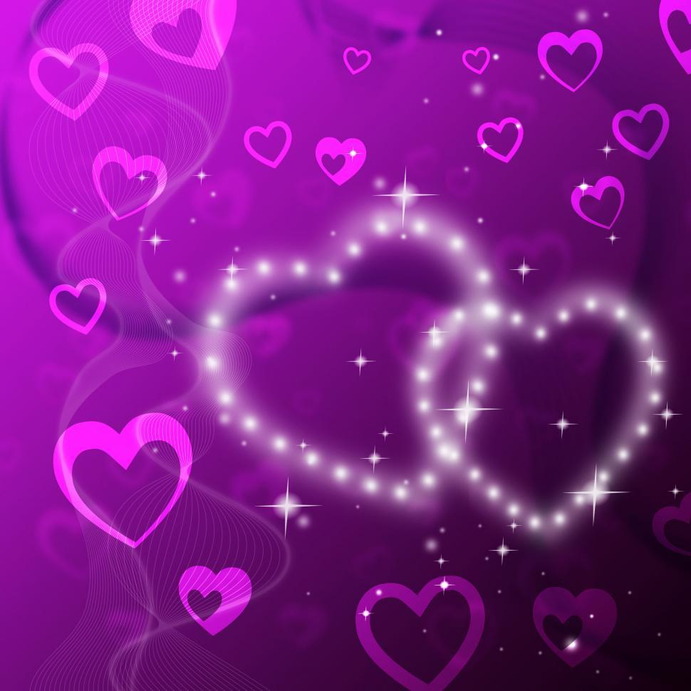 Download Free Stock HD Photo of Purple Hearts Background Shows Romantic Fond And Glittering  Online