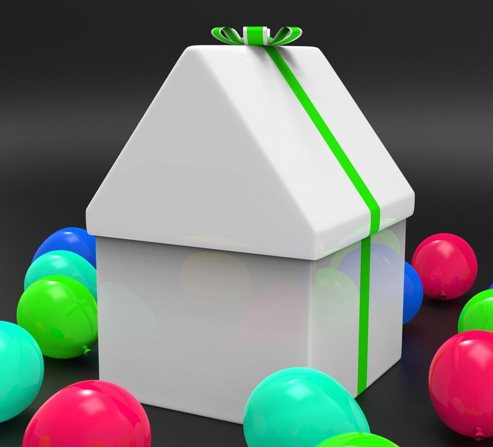 Download Free Stock HD Photo of House Giftbox Indicates Surprise Giving And Greeting Online